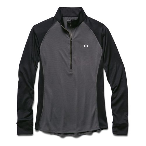 Womens Under Armour Tech Long Sleeve Half Zip Technical Tops - Black S