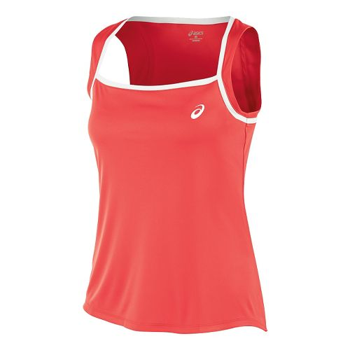 Womens ASICS Club Tank Technical Tops - Coralicious L