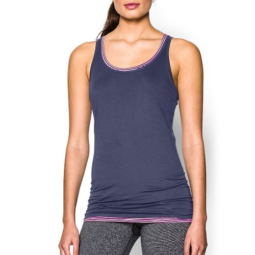 Womens Under Armour Long and Lean Tank Sport Top Bras - Faded Ink XL
