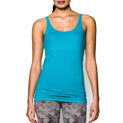 Womens Under Armour Long and Lean Tank Sport Top Bras - Island Blues L