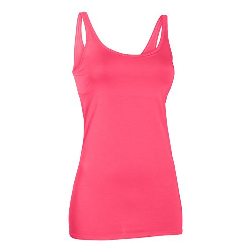 Womens Under Armour Long and Lean Tank Sport Top Bras - Pink Shock M