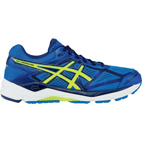 Mens ASICS GEL-Foundation 12 Running Shoe - Blue/Flash Yellow 8.5