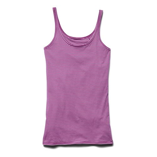 Womens Under Armour Long and Lean Novelty Tank Sport Top Bras - Aubergine S