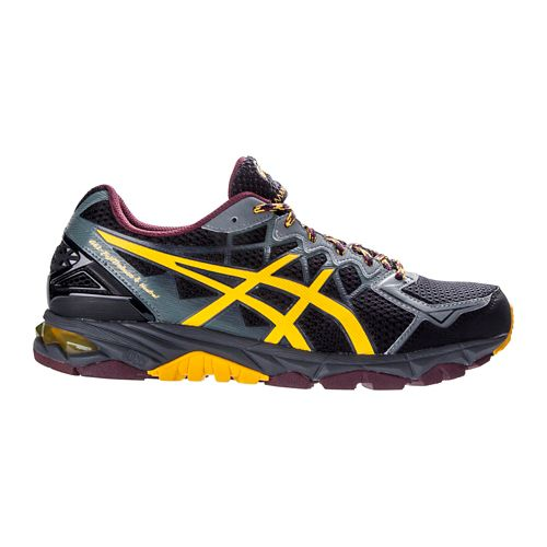 Mens ASICS GEL-FujiTrabuco 4 Neutral Trail Running Shoe - Black/Yellow 12
