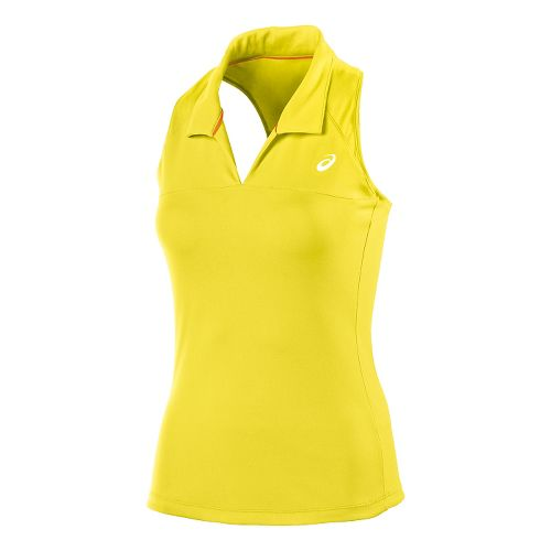 Womens ASICS Club Racerback Polo Sleeveless Technical Tops - Sunshine Yellow L