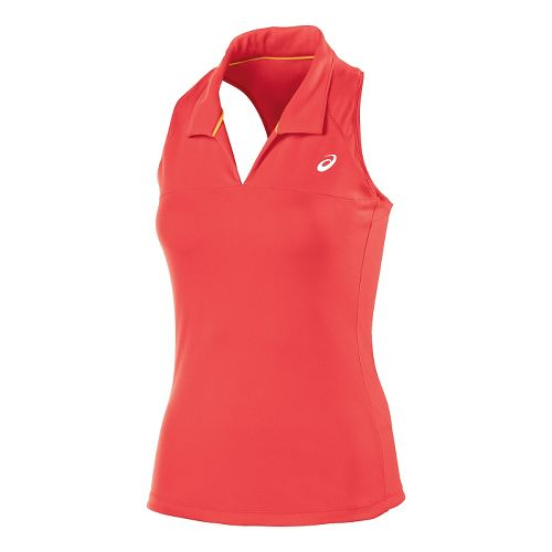 Womens ASICS Club Racerback Polo Sleeveless Technical Tops - Coralicious XS
