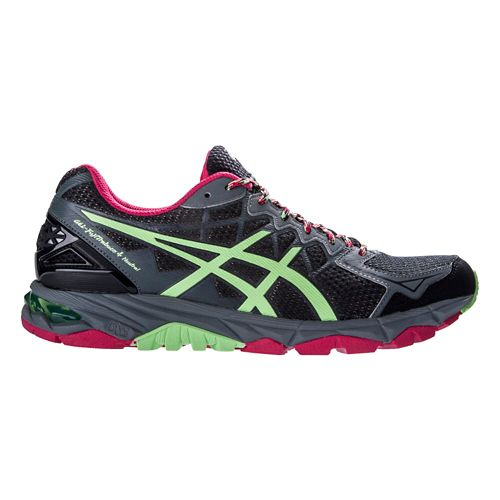 Womens ASICS GEL-FujiTrabuco 4 Neutral Trail Running Shoe - Black/Mint 9.5