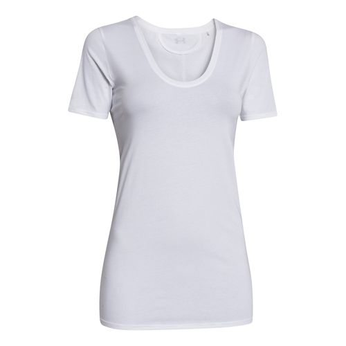 Womens Under Armour Long and Lean V-Neck Short Sleeve Technical Tops - White XL
