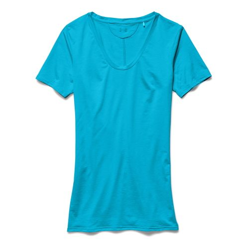Womens Under Armour Long and Lean V-Neck Short Sleeve Technical Tops - Island Blues XL ...