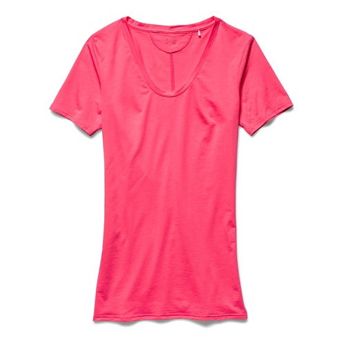 Womens Under Armour Long and Lean V-Neck Short Sleeve Technical Tops - Pink Shock XS ...