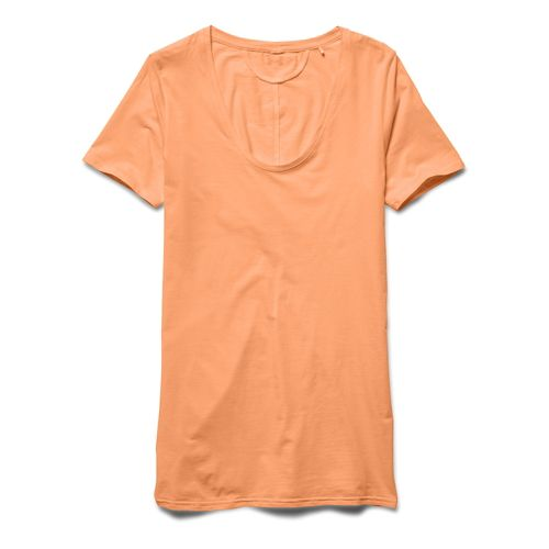 Womens Under Armour Long and Lean V-Neck Short Sleeve Technical Tops - Afterglow L