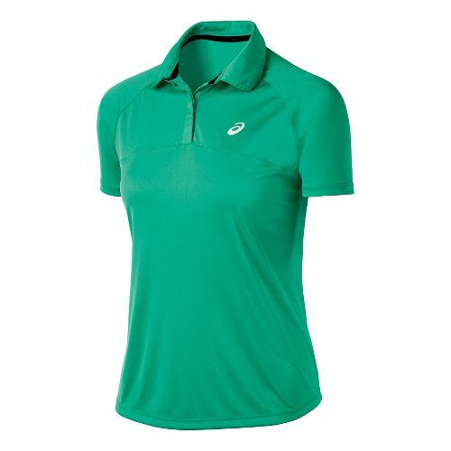 Womens ASICS Club Polo Short Sleeve Technical Tops - Cool Mint XS