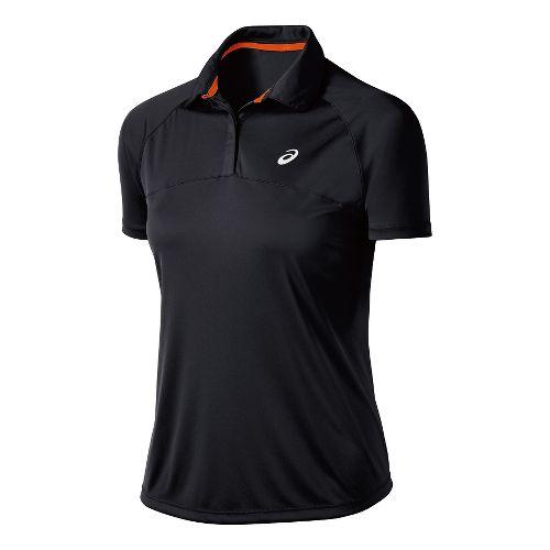Womens ASICS Club Polo Short Sleeve Technical Tops - Black L