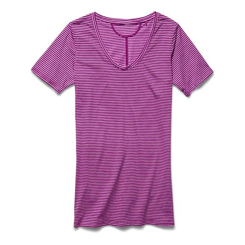 Womens Under Armour Long and Lean Novelty V-Neck Short Sleeve Technical Tops - Aubergine L ...
