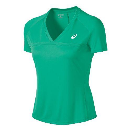 Womens ASICS Club V-Neck Short Sleeve Technical Tops - Cool Mint XS