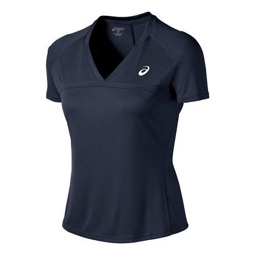 Womens ASICS Club V-Neck Short Sleeve Technical Tops - Dark Cobalt S