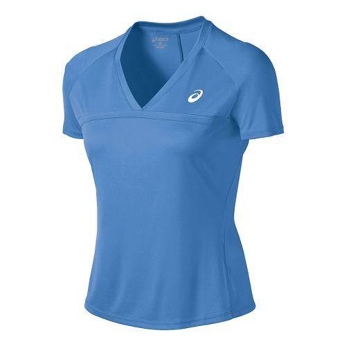 Womens ASICS Club V-Neck Short Sleeve Technical Tops - Marina L