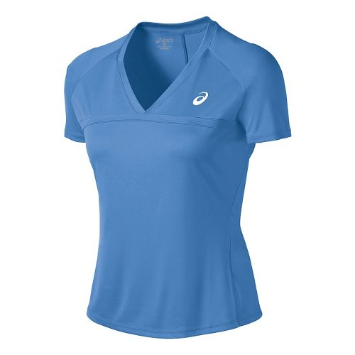 Womens ASICS Club V-Neck Short Sleeve Technical Tops - Marina XL