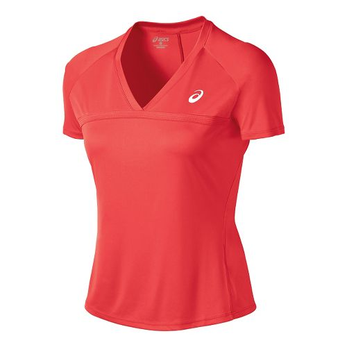 Womens ASICS Club V-Neck Short Sleeve Technical Tops - Coralicious XS