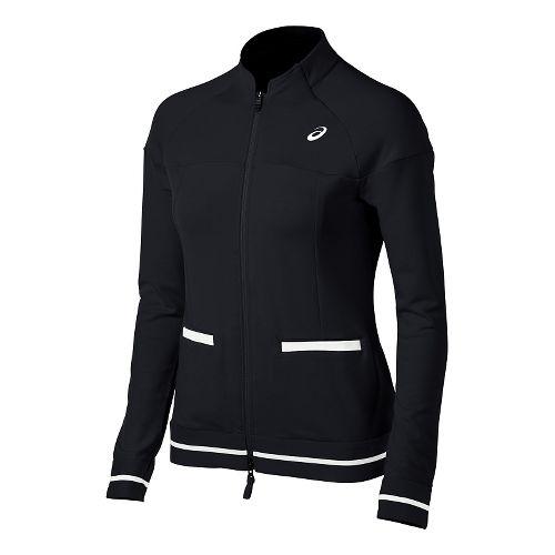 Womens ASICS Club Knit Warm Up Unhooded Jackets - Black M