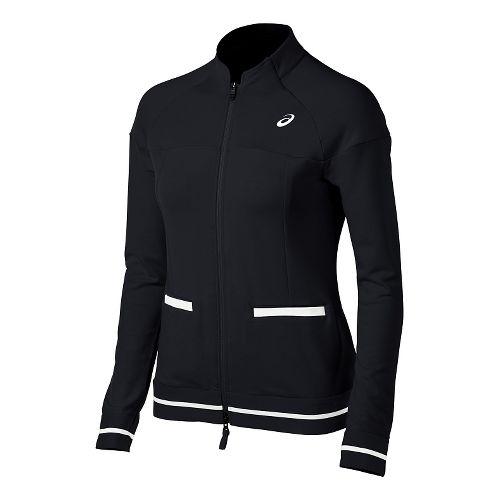 Womens ASICS Club Knit Warm Up Unhooded Jackets - Black S