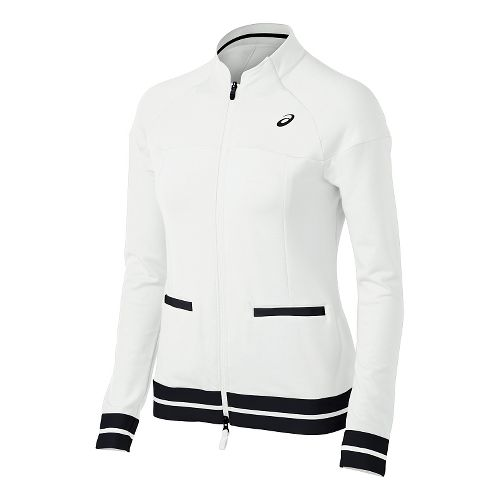 Womens ASICS Club Knit Warm Up Unhooded Jackets - Real White M