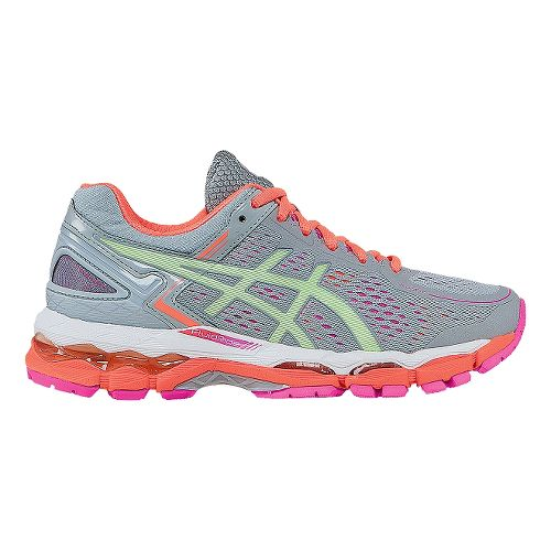 Womens ASICS GEL-Kayano 22 Running Shoe - Silver/Coral 5