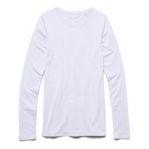 Womens Under Armour Long and Lean Long Sleeve No Zip Technical Tops - White M ...