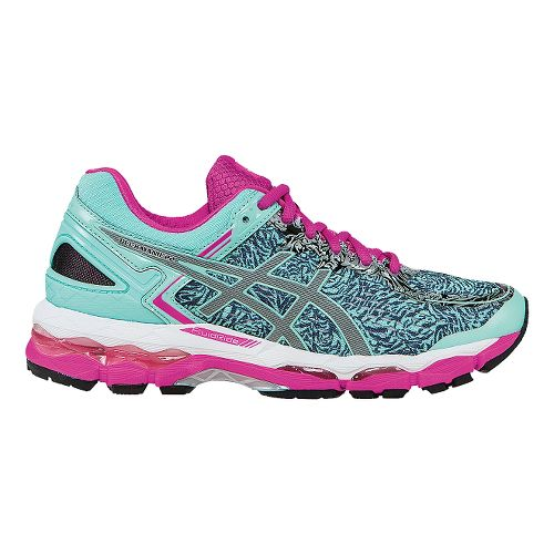 Womens ASICS GEL-Kayano 22 Lite-Show Running Shoe - Aqua/Pink 5.5