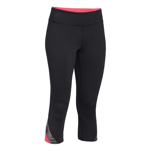 Womens Under Armour Take-A-Chance 20 Capri Tights - Black/Pink Shock L