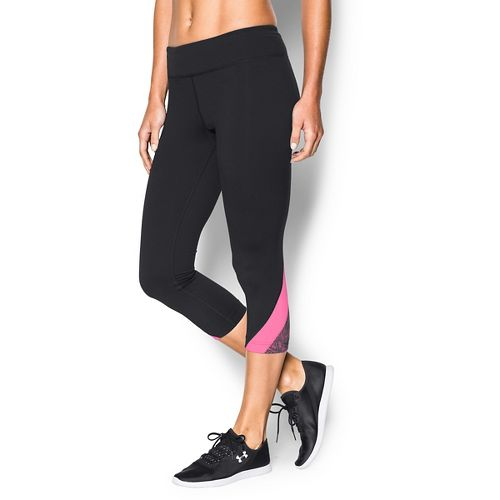 Womens Under Armour Take-A-Chance 20 Capri Tights - Black/Pink Punk L