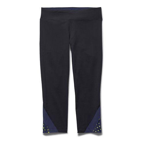 Womens Under Armour Take-A-Chance 20 Capri Tights - Black/Blue Knight XS