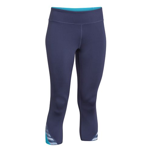 Womens Under Armour Take-A-Chance 20 Capri Tights - Faded Ink/Blue S