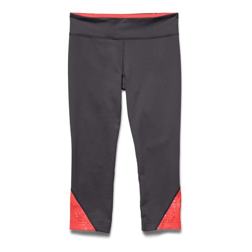 Womens Under Armour Take-A-Chance 20 Capri Tights - Academy/Pink Shock XS