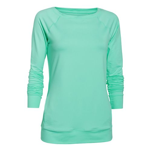 Womens Under Armour Take-A-Chance Crew Long Sleeve No Zip Technical Tops - Crystal XS