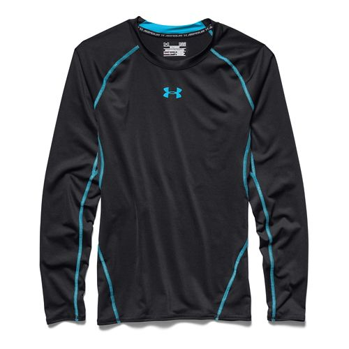 Mens Under Armour HeatGear Longsleeve Compression Long Sleeve No Zip Technical Tops - Blue Jet ...