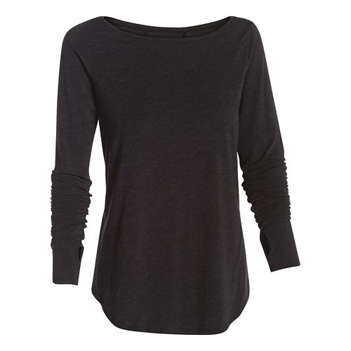 Womens Under Armour Transit T Long Sleeve No Zip Technical Tops - Oatmeal Heather L ...