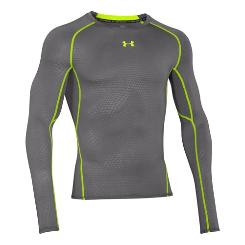 Mens Under Armour HeatGear Compression Printed Long Sleeve No Zip Technical Tops - Graphite M ...