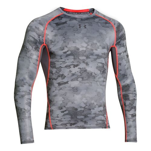 Mens Under Armour HeatGear Compression Printed Long Sleeve No Zip Technical Tops - ...