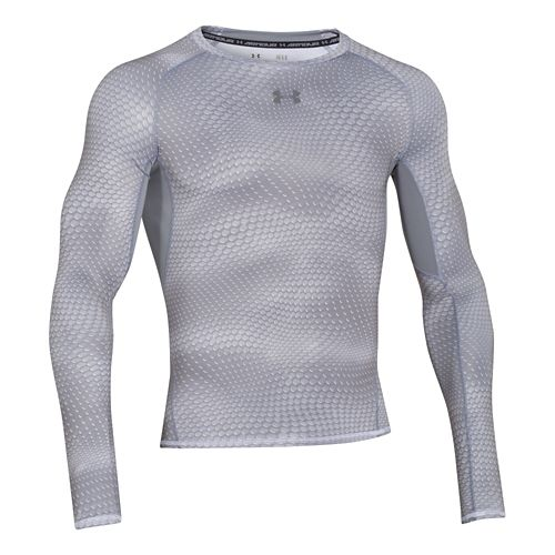 Mens Under Armour HeatGear Compression Printed Long Sleeve No Zip Technical Tops - White XXL ...