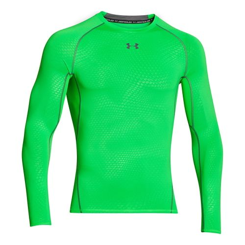 Mens Under Armour HeatGear Compression Printed Long Sleeve No Zip Technical Tops - Green Energy ...