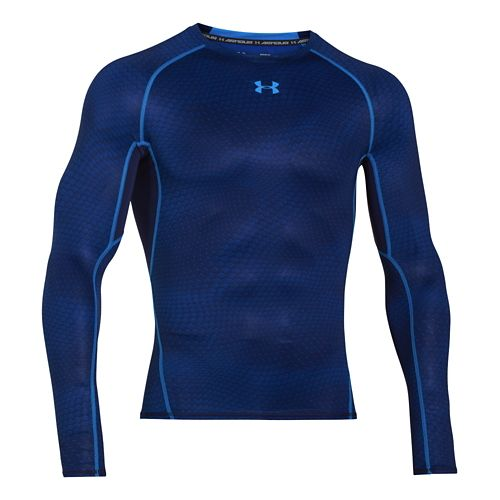 Mens Under Armour HeatGear Compression Printed Long Sleeve No Zip Technical Tops - Midnight ...