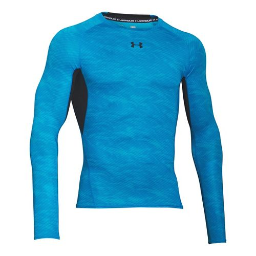 Mens Under Armour HeatGear Compression Printed Long Sleeve Technical Tops - Electric Blue 3XL