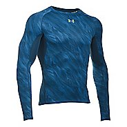 Mens Under Armour HeatGear Compression Printed Long Sleeve Technical Tops