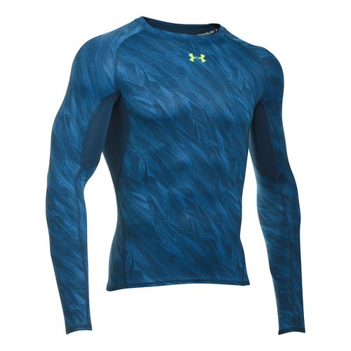 Mens Under Armour HeatGear Compression Printed Long Sleeve Technical Tops - Squadron S