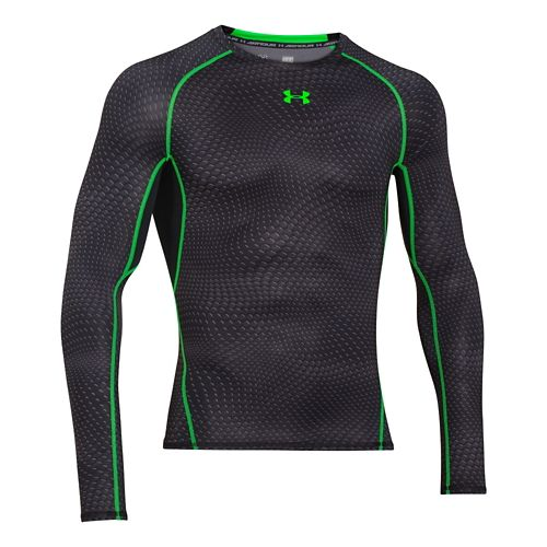 Mens Under Armour HeatGear Compression Printed Long Sleeve No Zip Technical Tops - White M ...