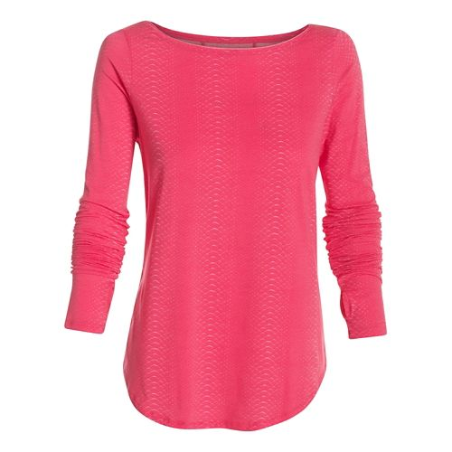 Womens Under Armour Transit Printed T Long Sleeve No Zip Technical Tops - Pink Shock ...