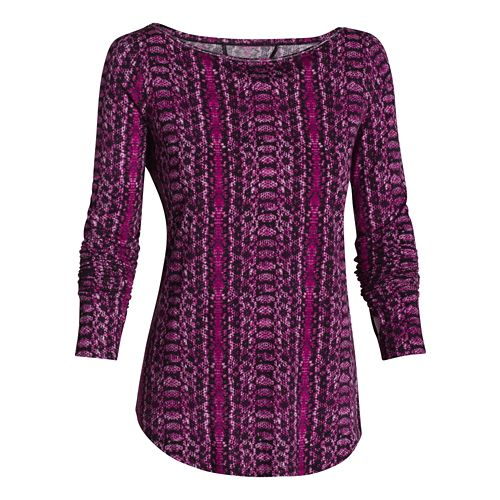 Womens Under Armour Transit Printed T Long Sleeve No Zip Technical Tops - Aubergine XL ...