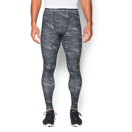Mens Under Armour HeatGear Compression Printed Leggings Tights - Black/Steel S