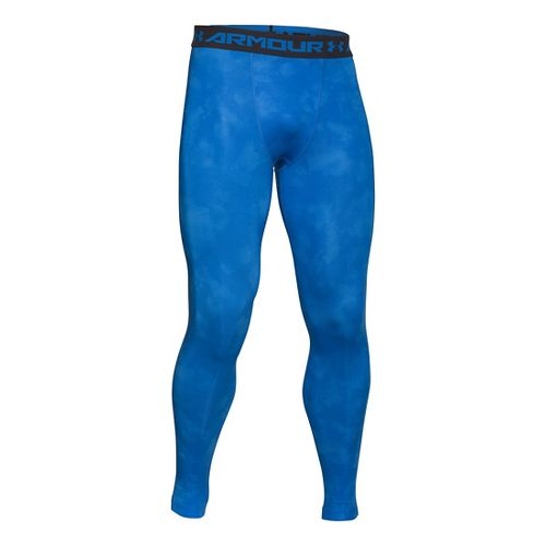 Mens Under Armour HeatGear Compression Printed Leggings Tights - Blue Jet/Black XXL